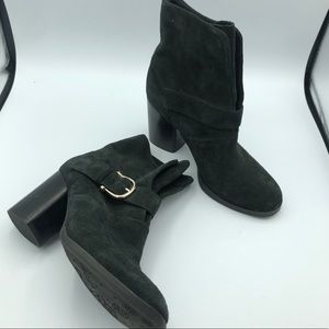 Isola Black Suede Chunky Heel Ankle Boots 6.5